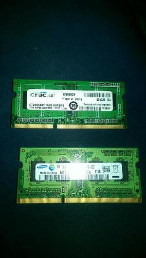 Memorias Ram de 1y2gb Laptop Ddr3