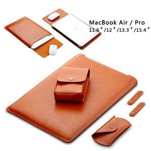 Supebr De Cuero Suave Caso Bolsa De Kits Para Apple Macbook