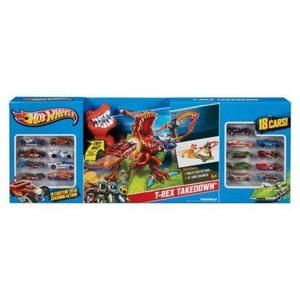 Hot Wheels T-rex Desmontaje Playset Con 18 Coches