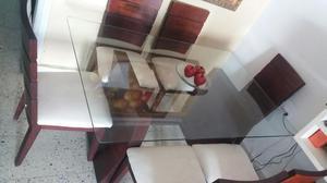 Comedor estilo gota en vidrio de seis 6 puestos posot class for Comedor gota