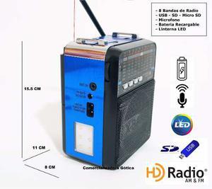 Mini Parlante Portátil Con Micrófono Mp3, Am/fm Linterna
