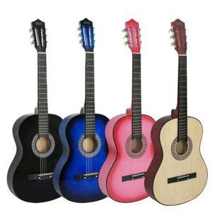 38 Azul/negro/rosa/natural De La Guitarra Acústica Con