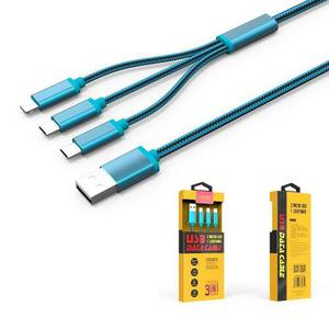 Cable Celular Iphone Android Micro Usb 3 En 1 Ldnio