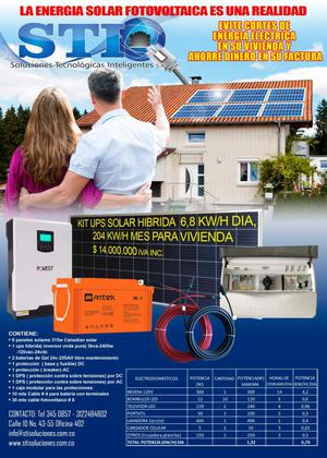 KIT SOLAR UPS HIBRIDA 3KVA 200 KW/H AL MES