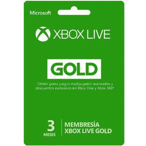 Xbox Live Gold 3 Meses Región Libre Entrega Inmediata*