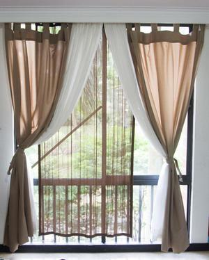 Cortinas largas beige y blanco