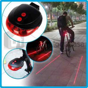 Luz Trasera Bicicleta Led Y Laser Aprueba De Agua