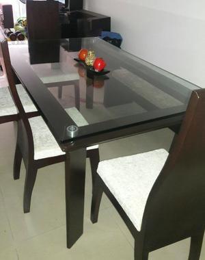 Bonito comedor madera vidrio gota 6 puestos posot class for Comedor gota