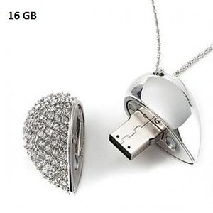 Memoria Usb 16 Gb Corazon Metal Cristal