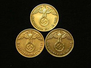Tres Monedas Alemanas De Bronce Del Reichspfennig Del Terce