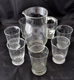juego jarra de jarra con 6 vasos y juego de sopera