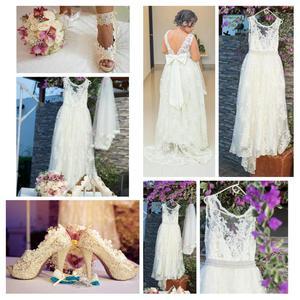 En venta, hermoso vestido de novia color ivory única
