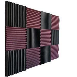 12 Pack - Burgundy /charcoal Acoustic Panels Cuñas De