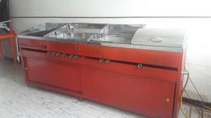 Carro con plancha para comidas posot class for Freidoras a gas medellin