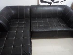 Vendo hermoso sofa negro en cuero italiano posot class - Sofa cuero negro ...
