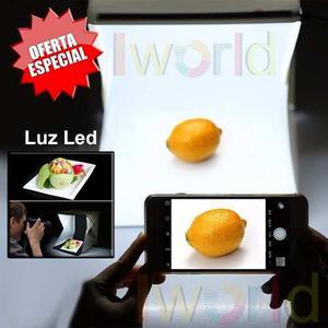 Caja Para Foto De Producto Portatil Con Luz Led + 2 Fondos