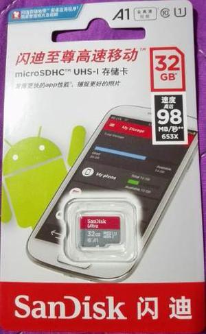Memoria Micro Sd Sandisk A1 32gb Clase 10 Original. Microsd