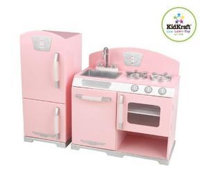 Juguete Kidkraft Retro De La Cocina Y Refrigerador En Rosa