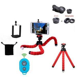 Tripode Flexible 6en1 Control Y 3 Lentes Camara Celular