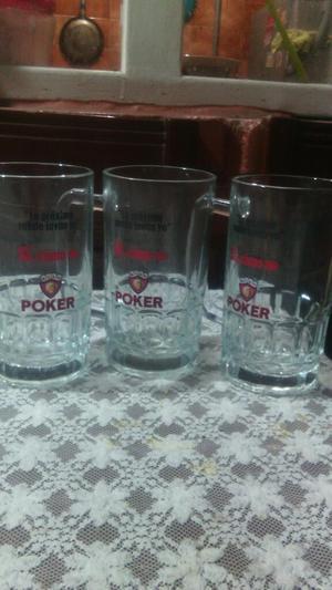 Vendo Colección de Jarros Poker Cristal.