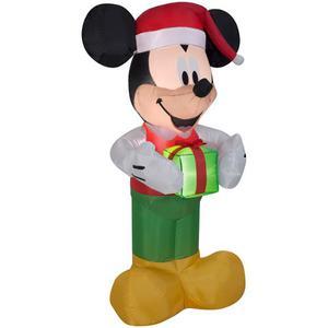 Inflable De Navidad De Mickey Sosteniendo Un Regalo De 5