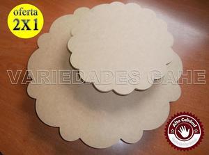 Bases Giratorias Para Tortas Combo De 2 En Mdf 30cm Y 25 Cm