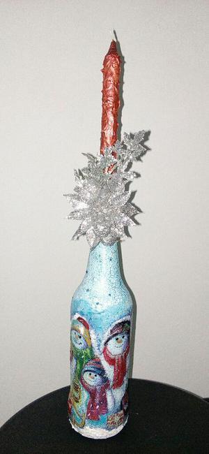 Hermosa Botellas Navideñas Y Espejo.