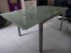 Comedor extensible en vidrio templado2 posot class for Comedor 4 puestos vidrio