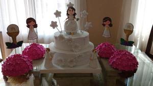 Torta Fantasía para primera comunión de niña con 4