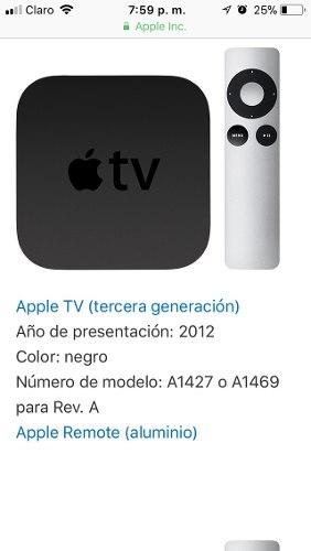 Apple Tv 3ra Generación En Buen Estado