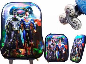 Maleta Superman Vs Batman lonchera y cartuchera Niños