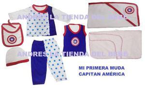 Primera Muda Bebé Capitan America Conjunt Recien Nacido