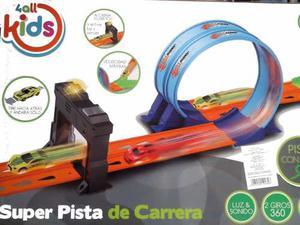 Super Pista De Carreras 2 Loops 360 Grados Con Luz Y 2 Autos
