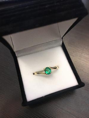 Anillo Compromiso Oro 18k Esmeralda Certificada Argolla