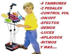 Karaoke Juguete Bateria Mp3 Luces Niño