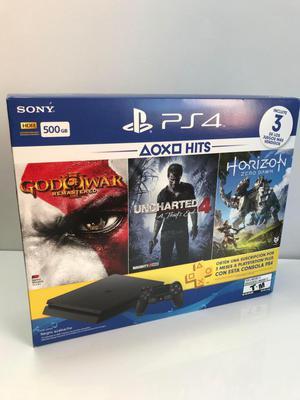 Consola Playstation 4 Slim 500gb 4 Juegos PS Plus 3 Meses
