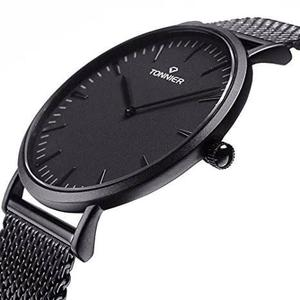 Tonnier Negro De Acero Inoxidable Hombres Delgado Reloj De