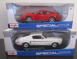 2 Carro Ford Mustang + Porsche Escala Grande 1/18 Coleccion