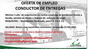 CONDUCTOR ENTREGADOR TAT CON PASE C1 C2 O C3 - Medellín