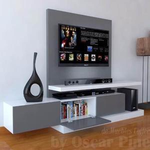 Mueble De Tv Ref: Mural16 Con Panel Para Ocultar Cables