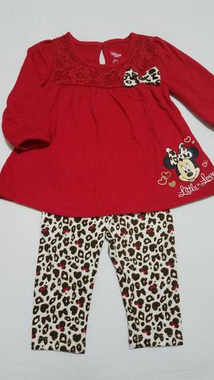 Conjunto Rojo Minnie Bebe Niña 3 a 6 Mes