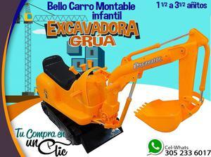 Genial Carro Montable infantil EXCAVADORA GRUA.Con LUZ Y