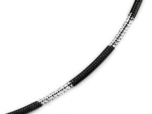 Tobillera Finejewelers De Plata Esterlina Con Rodio Negro