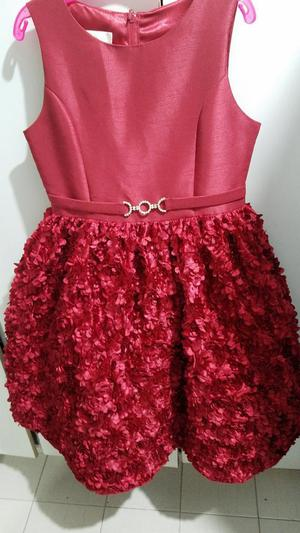 Vestido Rojo Navideño para Niña Talla 10