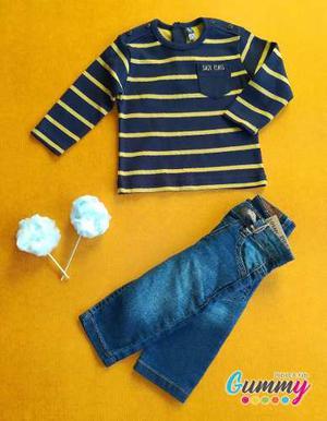 Conjunto Camiseta Manga Larga Y Jean Para Bebé