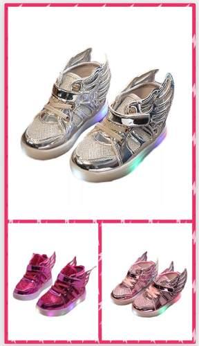 Zapatos Para Niña Con Luces Led Y Alas,