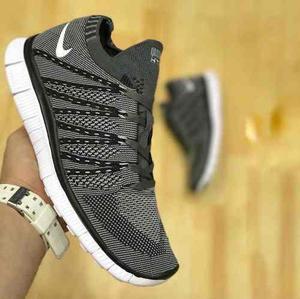 Tenis Zapatillas Nike Free Flyknit Gris Negra Hombre