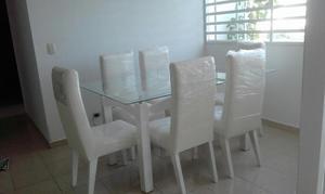 Comedor 6 puestos vidrio color blanco posot class for Comedor 12 puestos