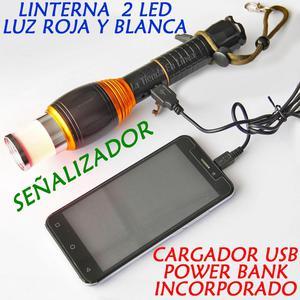 Linterna 2 Led Luz Roja Y Blanca Señalizador Y Power Bank