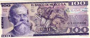 Billete De Mexico De Cien Pesos